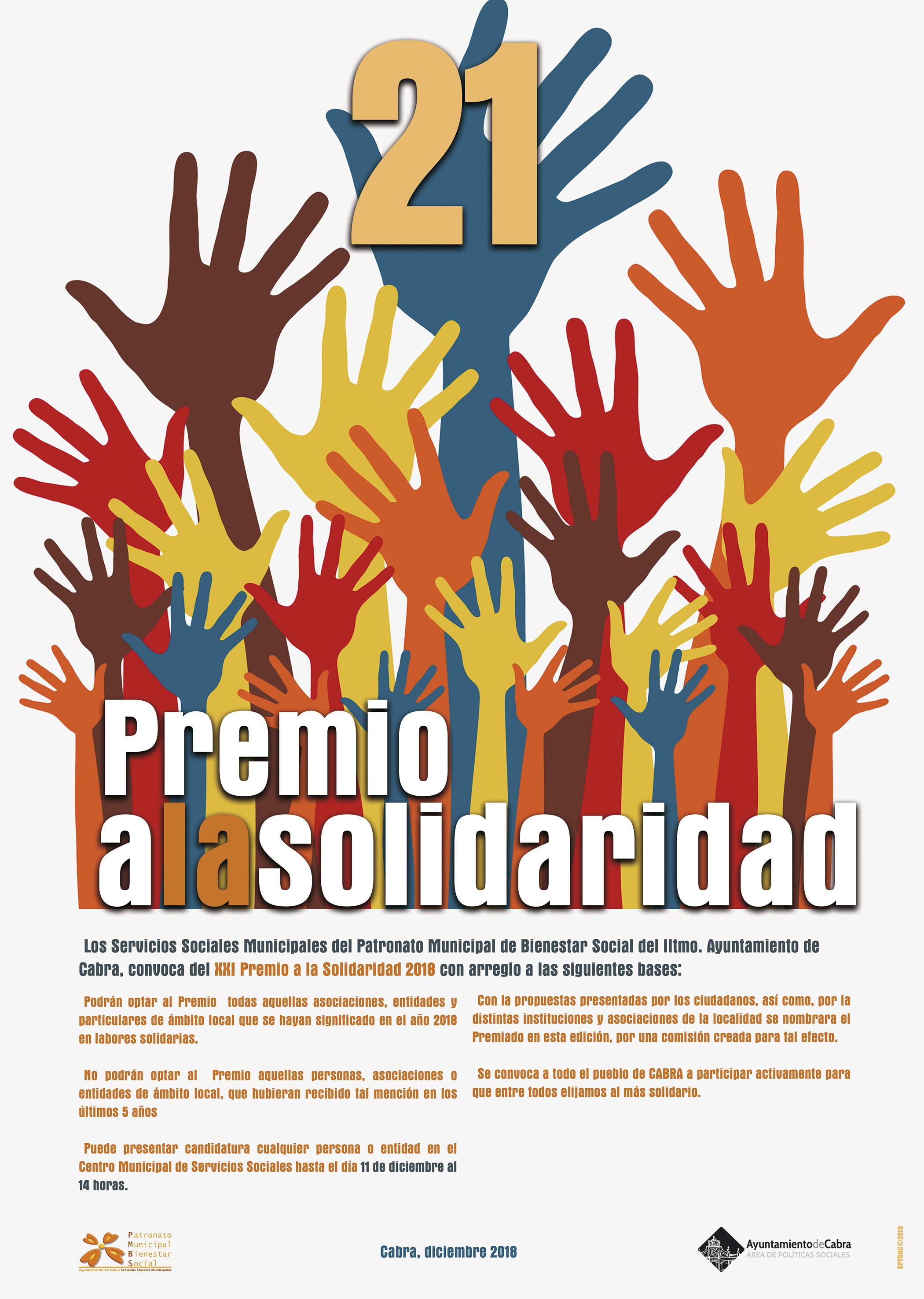 El Ayuntamiento convoca el Premio Solidaridad 2018