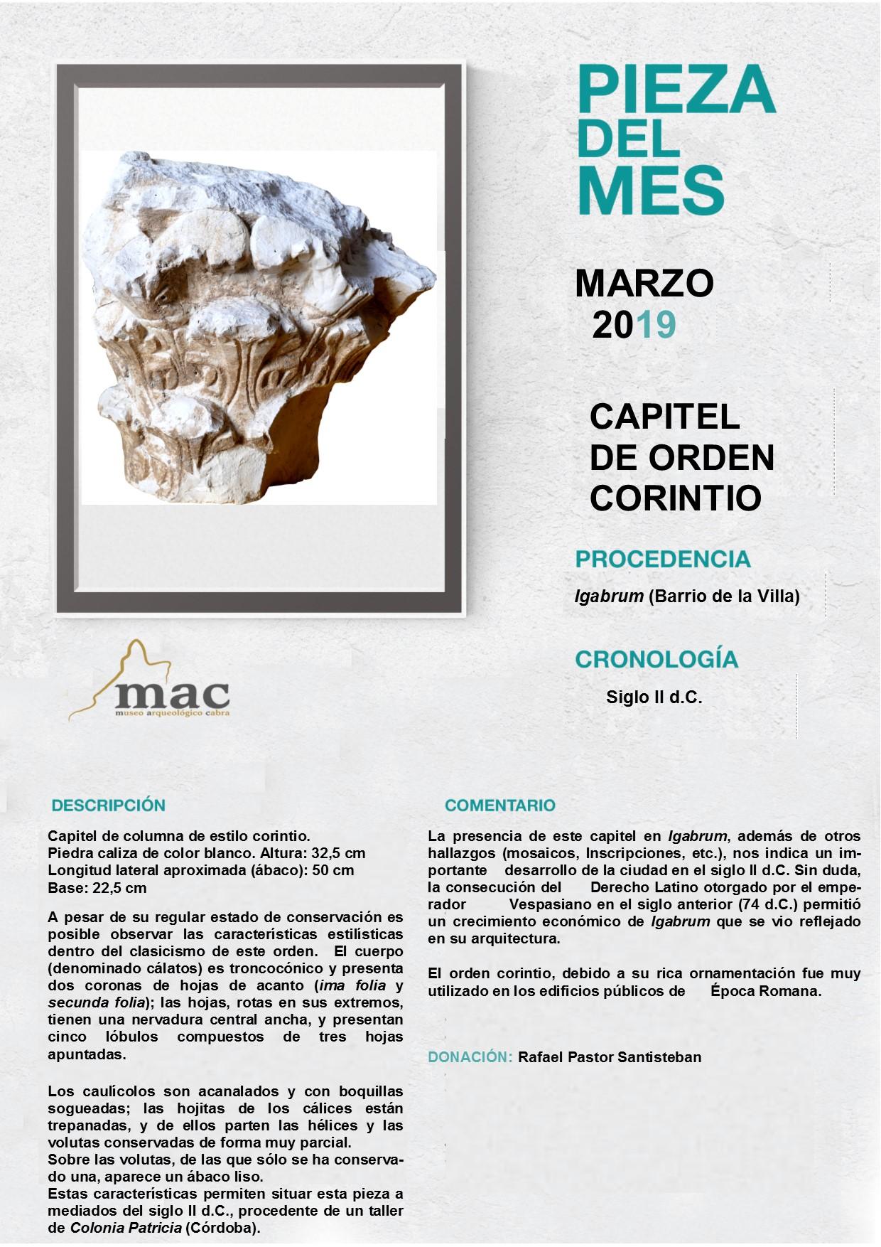 El Museo Arqueológico Municipal presenta la pieza del mes de marzo: un capitel de orden corintio