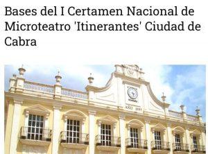 Bases del I Certamen Nacional de Microteatro 'Itinerantes' Ciudad de Cabra